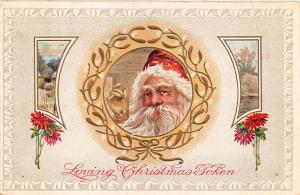 Loving Christmas Token Red Suited Santa Claus in 1912 Postcard 203