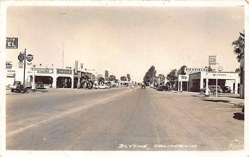 Blythe CA Street View Gas Stations Old Cars RPPC Postcard
