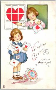 Vintage VALENTINE'S DAY Embossed Postcard Here's Another c1910s UNUSED