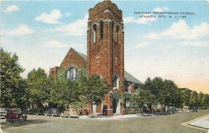 Atlantic City New Jersey~First Presbyterian Church~1949 Cars~Postcard