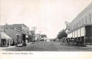 B10/ Camp Douglas Wisconsin Wi Postcard c1910 Street Scene Stores Barber Buggy