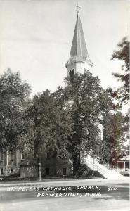 Browerville MN~White Steeple Above Trees~St Peter's Catholic Church 1940s RPPC