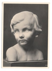 RPPC Sculpture Michael Drobil Kinderbildnis Wien Austria Kuhne Art 4X6 Postcard