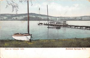 Richfield Springs New York~View on Schuyler Lake~Pleasure Boat @ Dock~1906