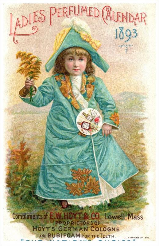 Hoyt's German Cologne  1893 Calendar Trade Card