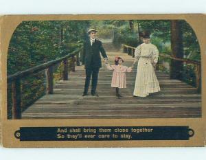 Pre-Linen art nouveau GIRL WALKING HAND-IN-HAND WITH PARENTS ON BRIDGE HL4349