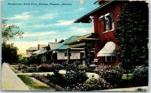 Phoenix, Arizona Postcard Residences, North First Avenue Houses / 1911 Cancel