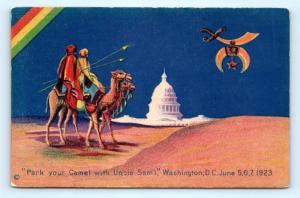 Postcard Shriners Convention Park Your Camel Uncle Sam Washington DC 1923 H19