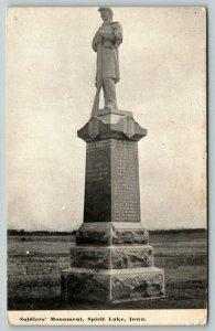 Spirit Lake Iowa~Civil War Soldiers Monument Close Up~Names Inscribed~1911 PC