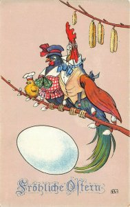 LP25  Easter Holiday Postcard Dressed Chicken Fantasy Egg