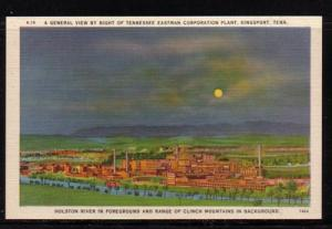 Tennessee colour PC Night View Tennessee Eastman Plant, Kingsport  unused