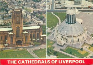 British Postcard England The Cathedrals of Liverpool different aspcts