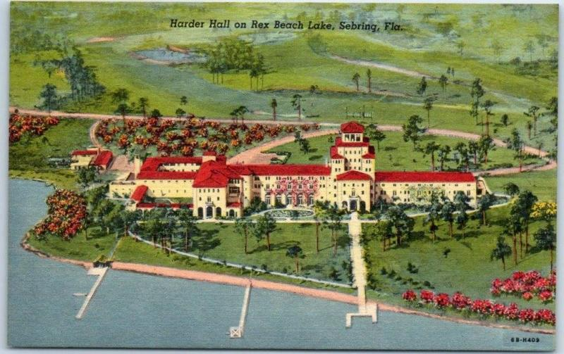 Sebring, Florida Postcard Aerial View Hunter Hall, Rex Beach Lake Linen 1940s