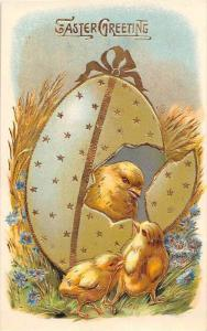 Easter Gold trim  Cracked Egg and Chicks