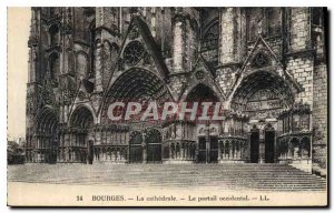 Old Postcard Bourges La Cathedrale The Western Portal