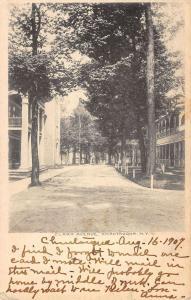 Chautauqua New York Clark Ave Street Scene Antique Postcard K42296