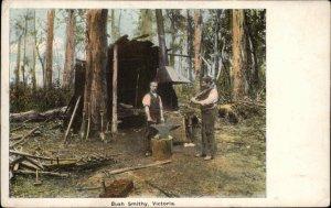 Victoria Australia Bush Smithy Blacksmith Anvil c1905 Postcard