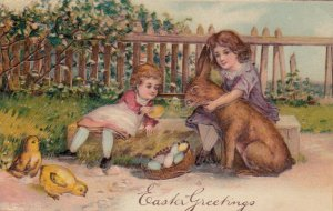 EASTER, 1900-10s; Children sitting with big brown rabbit, eggs, chicks, PFB 3995