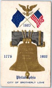 1908 PHILADELPHIA Pennsylvania Postcard Liberty Bell City of Brotherly Love