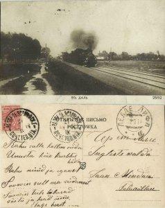 russia, Steam Train, Въ Даль (1914) RPPC Postcard