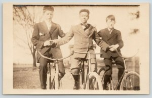 RPPC~Just Teens w/Bicycles, You Think? But We Keep Things Safe in the Hood~1909