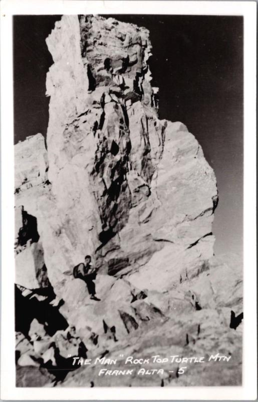 'The Man' Rock Turtle Mountain Frank Alberta AB RPPC Real Photo Postcard D39