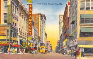 Kansas City MO~Main Street~Paramount Theatre~Liggetts~King Joy Lo~Bus~1948 Linen