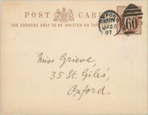 Entier Postal Stationery Postal Great Britain Great Britain 1897 Oxford