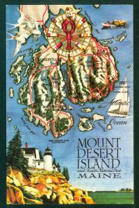 Mount Desert Island Maine Bar Harbor Acadia National Park Vintage Postcard