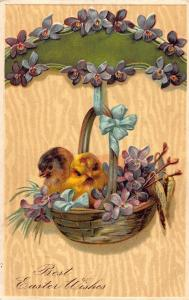 Best Easter Wishes Chickens in Basket Postcard