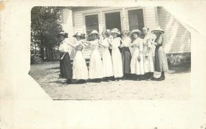 8 Ladies Form Train~Some Huge Hats~Real Photo Postcard c1913