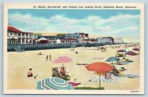 Postcard DE Rehoboth Beach Bathing Beach Boardwalk and Cottage Line Linen T11