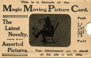 VERY RARE! Magic Moving Picture Post Card, ca. 1907. Mechanical. It works!