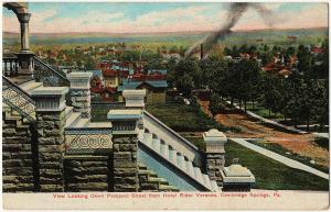 1909 Cambridge Springs PA Down Prospect St. Hotel Rider Veranda RARE DB Postcard