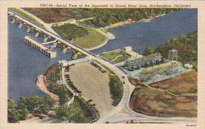 Oklahoma Aerial View Of Approach To Grand River Dam 1959 Curteich