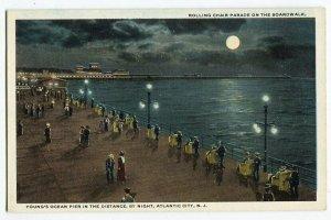 071013 Atlantic City NJ Rolling Chair Parade on Boardwalk Postcard at Night