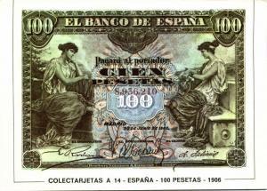 spain, Cien 100 Pesetas 1906, BANKNOTES Modern Money Postcard
