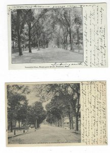 2) 1900s postcards of Washington Street, Whitman, Mass.