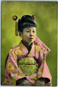 Vintage JAPAN Postcard Girl in Pink Kimono PCK Dated on Back 1946