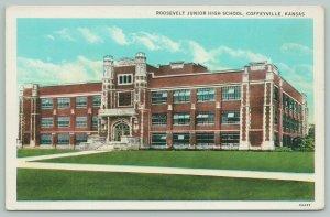 Coffeyville Kansas~Roosevelt Junior High School~1920s Postcard