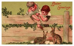 841   Easter  Children playing with Rabbits, chicken eggs