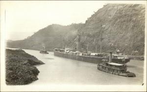 Panama Canal - Ship & Tugboats Tug Boats c1910 Real Photo Postcard