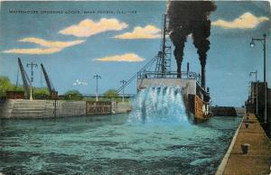 Peoria~Illinois River~Paddlewheel Steamer~Whitehouse Crossing Locks 1940 Linen