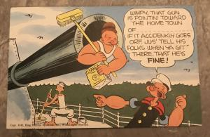 WW2 Popeye and Wimpy Cartoon Military Linen Postcard