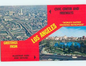 Unused Pre-1980 TWO VIEWS ON CARD Los Angeles California CA ho7368