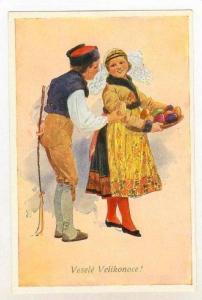 Czech couple at Easter, Vesele Velikonoce 1910-30s