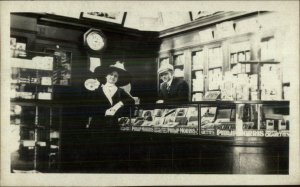 Los Angeles? Cigarette Cigar Store Interior Philip Morris Signs c1910 RPPC xst