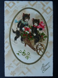 French New Year Greeting BONNE ANNÉE Kittens Mistltoe c1913 Postcard by Pittius