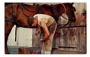 PA - Lancaster County. Blacksmith Shoeing a Horse