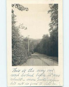 1930 rppc EARLY TELEPHONE POLES ALONG THE ROAD Postmarked Alton NH HM2767